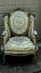 Antique French Louis Xvi Style Armchair W Silk Remnants Upholstery