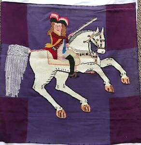 Antique American Needlepoint Sampler Berlin Wool Work Man On Horse 33 Tapestry