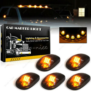 5x Smoke Lens Amber Led Cab Roof Marker Lights For 2003 2018 Dodge Ram 2500 3500