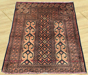Semi Antique Hand Knotted Afghan Prayer Turkoman Wool Area Rug 3 X 3 Ft