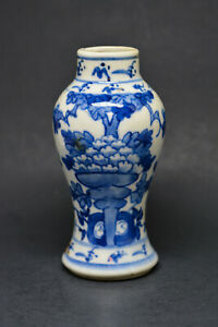 Chinese Antique Porcelain Blue An White Miniature Vase 5 Inches Tall
