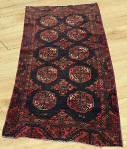 Antique Hand Knotted Afghan Turkoman Bokhara Wool Area Rug 3 X 5 Ft