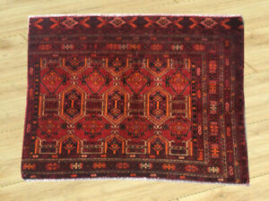 Semi Antique Hand Knotted Afghan Tribal Esrari Wool Area Rug 2 X 3 Ft