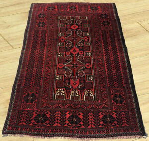 Semi Antique Hand Knotted Afghan Tribal Baloch Wool Area Rug 3 X 5 Ft