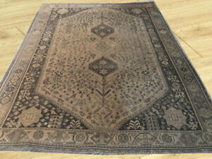 Around 80 Years Old Antique Hand Knotted Qashqai Sheraz Large Area Rug 7 X 9 Ft