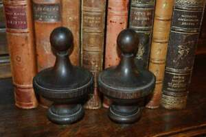 Antique Pair French Dark Turned Wood Large Finials Post Or Drapery