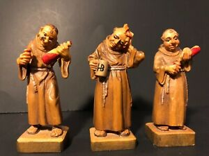 Vintage Wooden Monks Set Of 3 Figurine Jobin Brienz Switerland Wood Carving