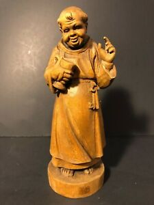 Vintage Wooden Monk Figurine Brienz Wood Carving