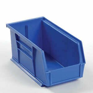Plastic Stacking And Hanging Parts Bin 5 1 2 X 10 7 8 X 5 Blue Lot Of 12