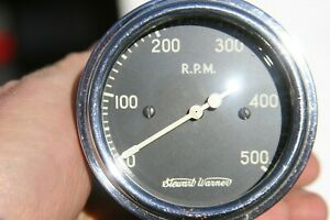 Stewart Warner Vintage 500 Rpm Tachometer Model 770 Mechanical Curved Glass