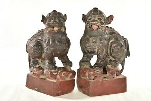 Pair Of Antique Chinese Red Wooden Statue Animal Foo Dog Lion 19th C