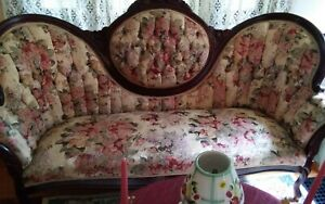 Local Pick Up Only Vintage Settee Sofa Victorian Fabric Mahogany Wood