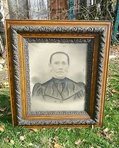 Vtg Victorian Large Oak Frame Carved Haunted Looking Family Portrait Picture