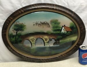 Vtg Wood Framed Reverse Painted Picture Convex Glass Cottage River Bridge