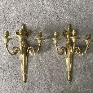 Pair Vintage Antique Brass Bronze French Empire Three Arm Lamp Wall Sconces