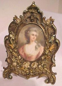 Antique Victorian Flowers Cattails In Relief Brass Picture Frame W Print