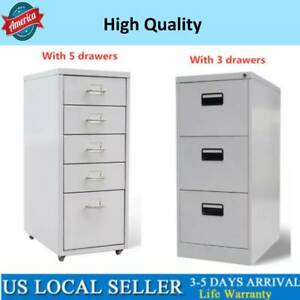 3 5 Drawer Rolling Filing Cabinet File Storage Organizer Home Office Gray 1x