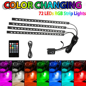 4pcs Rgb Full Color 72 Led Interior Car Under Dash Floor Seats Accent Light Kit