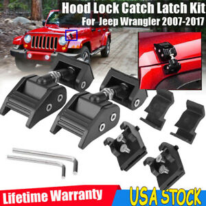 For 2007 2017 Jeep Wrangler Black Pair Hood Latch Lock Catch Wrangler Jk Parts