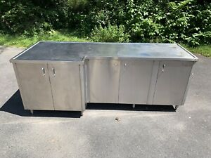Custom Made Stainless Steel Prep Counter Station Table Five Door Cabinet 94