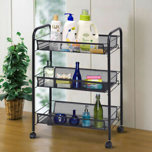 3 Tier Mesh Rolling File Utility Cart Home Office Kitchen Storage Basket Black