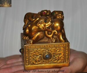 Old Chinese Dynasty Palace Bronze Gilt Inlay Gem Pixiu Beast Seal Stamp Signet
