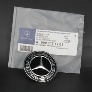 57mm Mercedes Benz Star Flat Hood Bonnet Logo Emblem Black Badge A0008171701