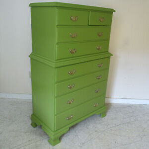 Vintage 1940s Painted Eight Drawer Chest On Chest Dresser