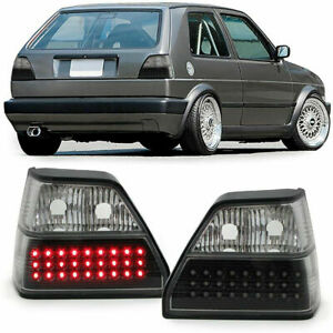 Led Tail Rear Lights In Clear Black Smoke Chrome Finish For Vw Golf 2 83 91