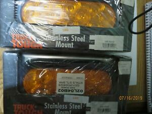 2 X 6 1 2 oval led Side Marker Lights With Stainless Steel Mount Amber