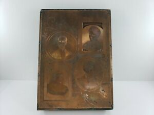 Antique Copper Plate Print Wood Block Of 4 Portraits 6 In X 4 In