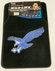 New 4pc Set Blue Eagle Car Truck Front Rear Black Carpet Floor Mats Mt 603bl