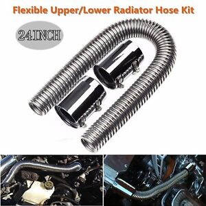 24 Stainless Steel Flexible Upper Lower Radiator Hose W Chrome Caps V8 Kit