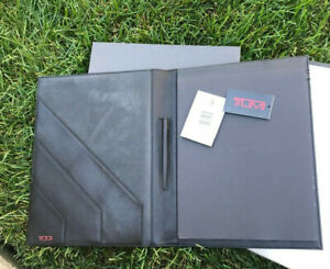 New In Box Tumi Modernist Black Leather Letterpad Portfolio Legal Pad