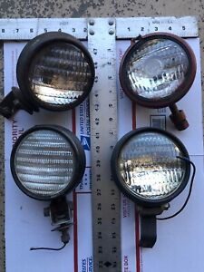 Lot Of 4 Antique Guide Superior 2 Others Head Lamps With Brackets Ll10