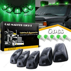 5x Roof Cab Marker Light Smoke Cover Green Led Bulb For Chevy Gmc K2500 K3500