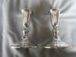 Old Vintage Crown Sterling Silver Set Of Candle Holders Weighted 4 3 4 Tall
