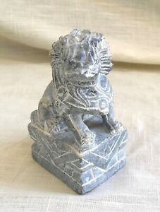 Vintage Hand Carved Marble Stone Foo Fu Dog Lion Gray 4 Inches