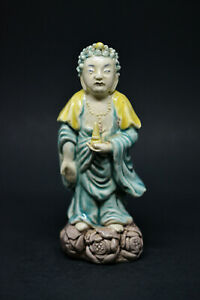 Chinese Antique Porcelain Buddha Figurine 5 5 Inches Tall