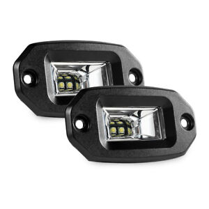 2x 28w Led Light Bar Flood Pods Flush Mount Off Road Work Lamp For Pickup Auto