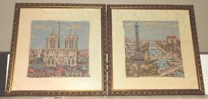 Antique Pair Framed French Architectural Tapestry On Satin Background
