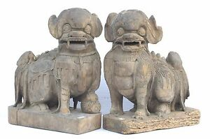 Pair Of Large Antique Chinese Wood Carved Statue Foo Dog Ming Or Qing Dynasty