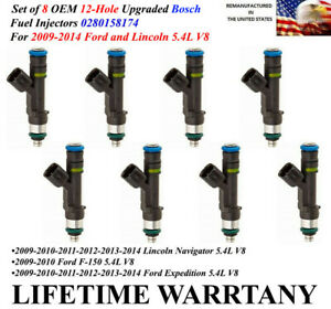 12 hole Upgraded Bosch 8x Fuel Injectors For 2009 2014 Lincoln Navigator 5 4l V8