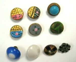 Antique Vintage Small Tiny Glass Metal Buttons Lot Of 10