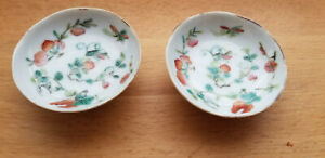 Fine Pair Chinese Porcelain Flower Painting Saucer Dishes Marked Signed