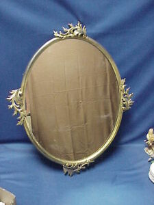 Ornate Large Brass Mirror With Leaves Brass Backing Hanging Wall Mirror