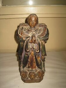 Antique Hand Carved Wood Statue Of The Madonna 12 1 2 High