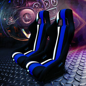Pair Fixed Bucket Racing Seats W Slide Railers Mounts Blue white Cloth