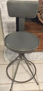 Vintage Industrial Drafting Metal Stool Chair Adjusts 24 Higher Sputnik Mcm