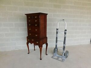 Custom Cherry Chippendale Queen Anne Style Lingerie Highboy Chest 59 H X 28 W